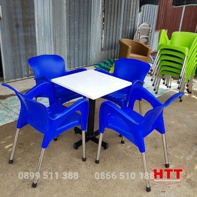 Bàn ghế cafe nhựa đúc chân inox