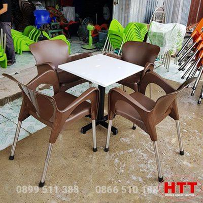 Bàn ghế cafe nhựa đúc chân inox ống 27 (ghế nữ hoàng Ø27)