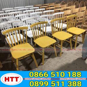 Bàn ghế gỗ Pinston song tiện 7 nan đa dạng nhiều màu sắc