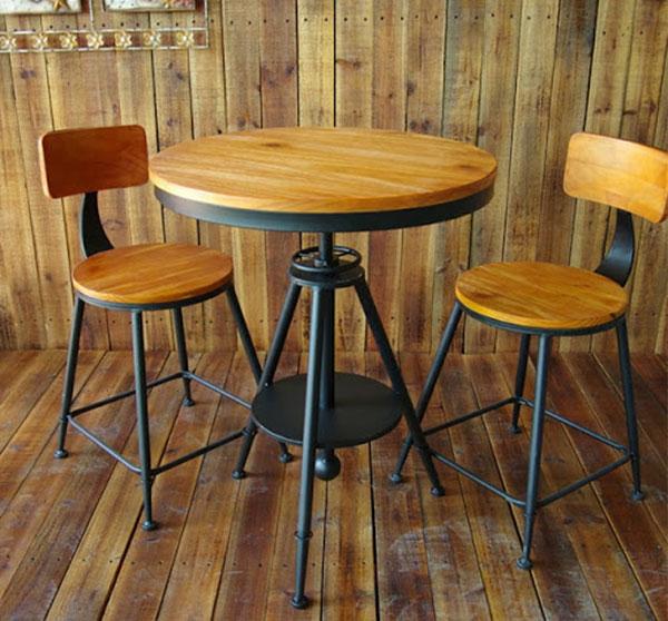 Bàn ghế gỗ trà sữa chân sắt độc đáo