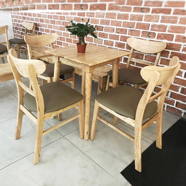 Bàn ghế gỗ trà sữa mặt vuông đẹp
