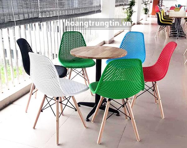 Bàn ghế nhựa trà sữa mặt lưới BGTSHTT005