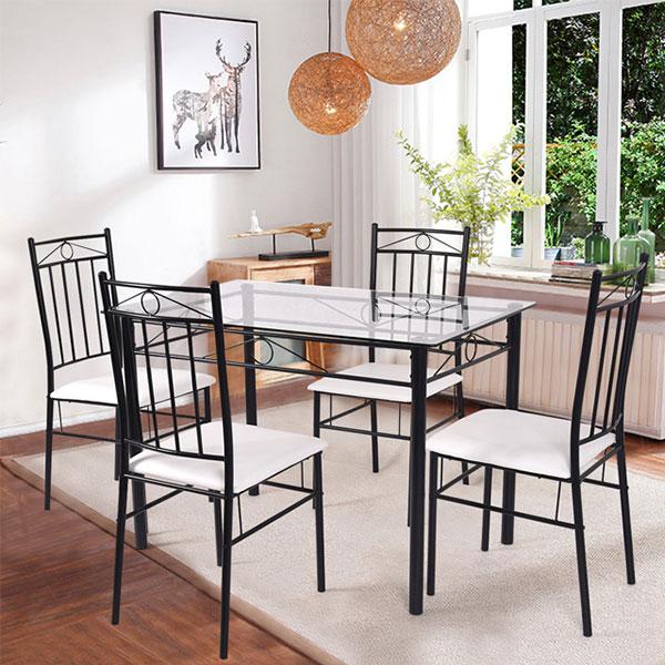 Bàn ghế phòng ăn từ chất liệu sắt
