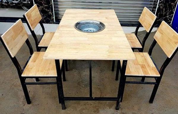 Bàn ghế quán ăn, quán nhậu gỗ sắt– BGQAHTT005