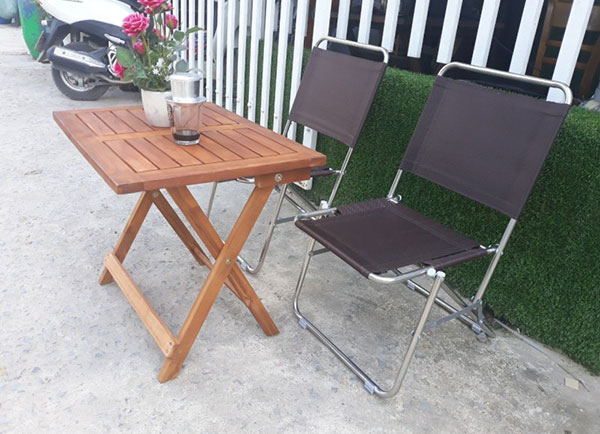 Bàn ghế xếp cafe từ inox