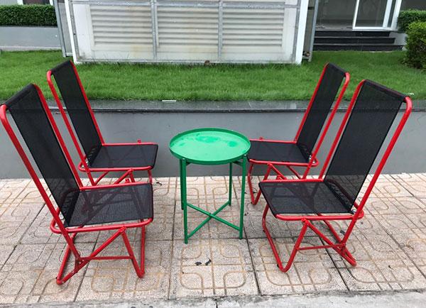 Bàn ghế xếp cafe chất liệu sắt cứng cáp