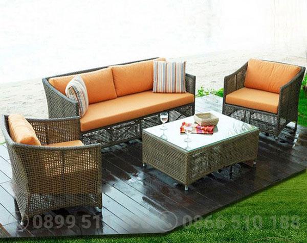 Sofa cafe mây nhựa HTT026