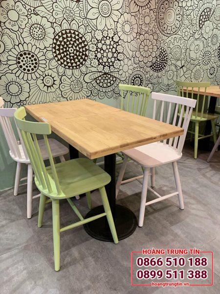 bàn ghế gỗ quán trà sữa - ghế 7 thanh tiện