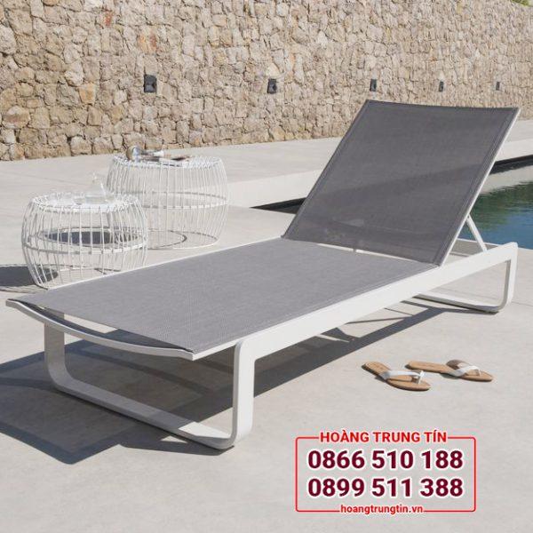 ghế hồ bơi khung nhôm vải lưới textilene